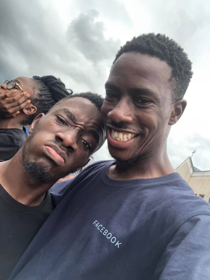 Ms Mmanti Umoh's sons, Akaninyene and Uduakobong at the protest in Uyo