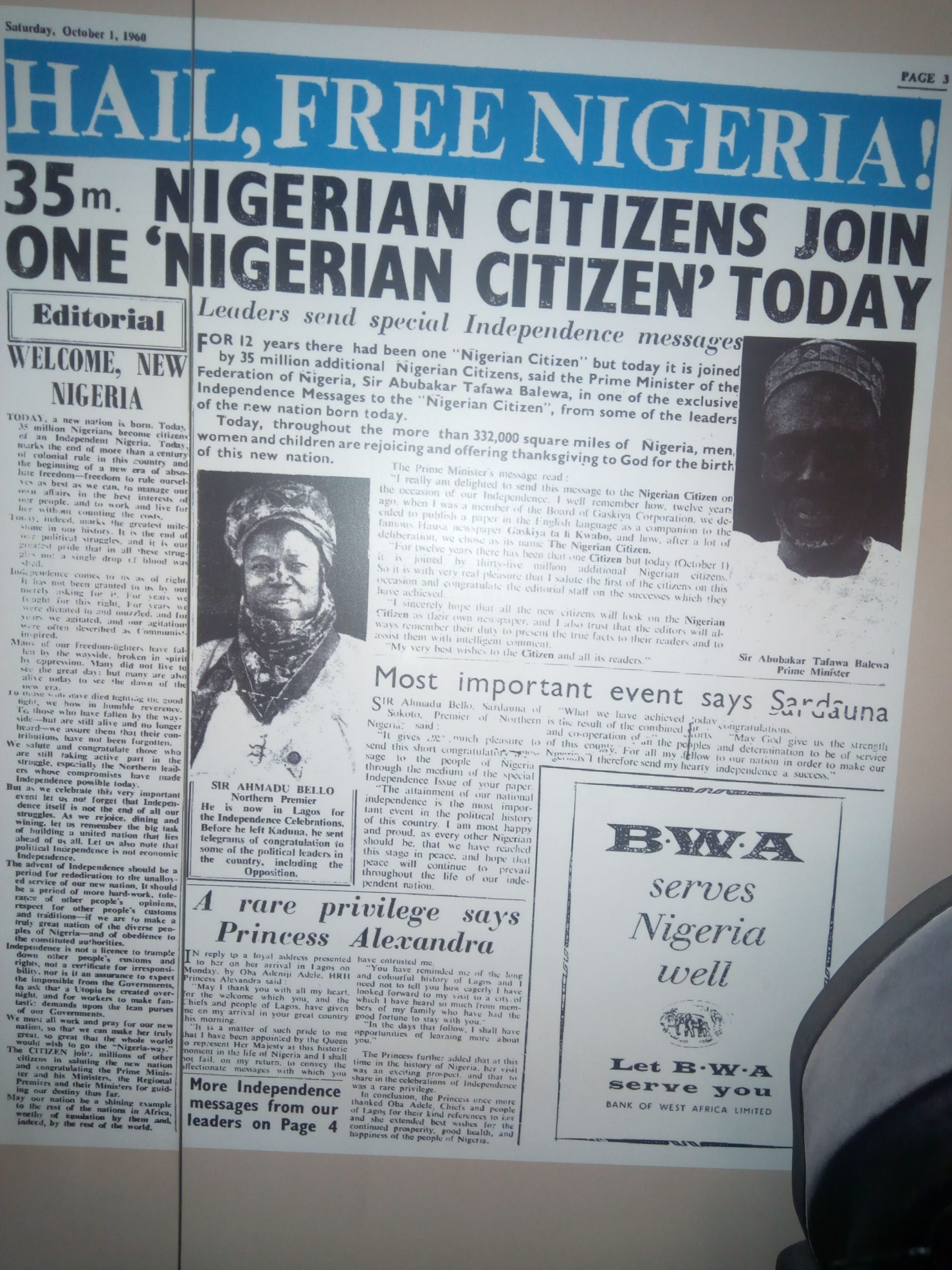 """Hail, Nigeria is free,"" the glorious first tabloid on Nigeria's independence on Saturday, October 1, 1960 (Credit: Yusuf Akinpelu)."