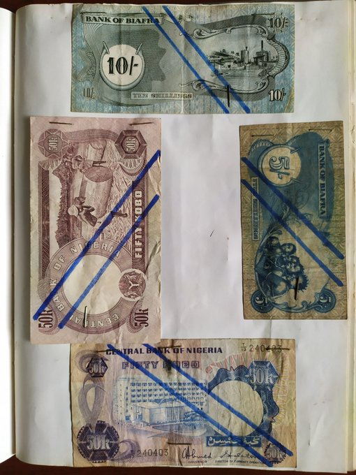 A collage of notes spent in the sixties, including notes spent in Biafra during the civil war that spanned about 30 months (Credit: Twitter, @Bodasheeee).