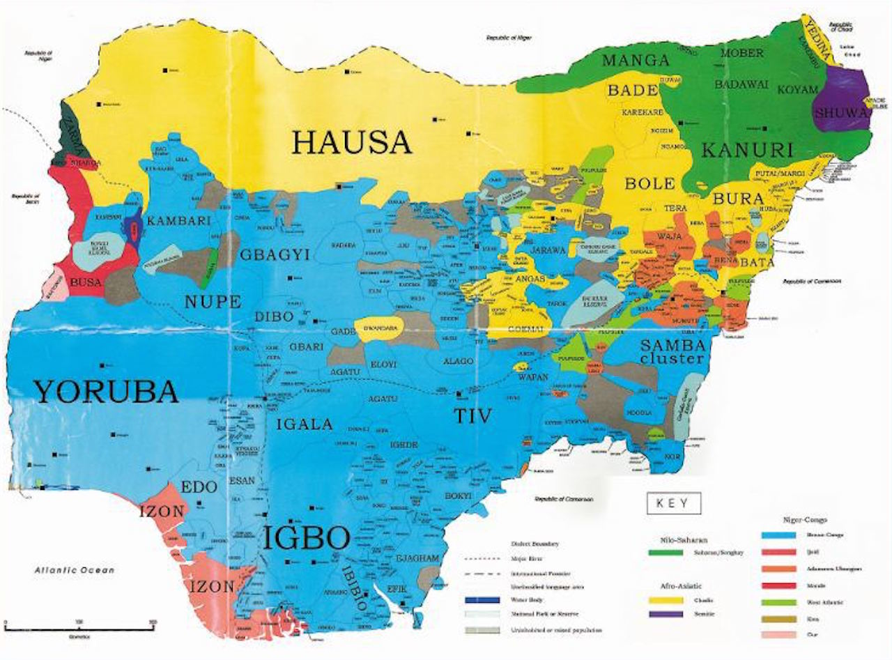 Map showing Nigeria's ethnic diversity.