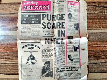 A front page image of the defunct Sunday Concord newspaper which was founded by businessman, politician Moshood Abiola on March 1, 1980 (Credit: Twitter, @Bodasheeee).