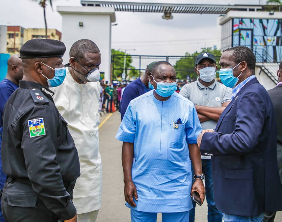 R-L: Lagos State Deputy Governor, Dr. Obafemi Hamzat; Commissioner for Information and Strategy, Mr. Gbenga Omotoso; his counterpart for Special Duties and Inter-Governmental Relations, Engr. Tayo Bamgbose-Martins and RRS Commander, ACP Tunji Disu during the Deputy Governor's address to the #EndSARS protesters at the State House, Alausa, Ikeja, on Friday, October 9, 2020.