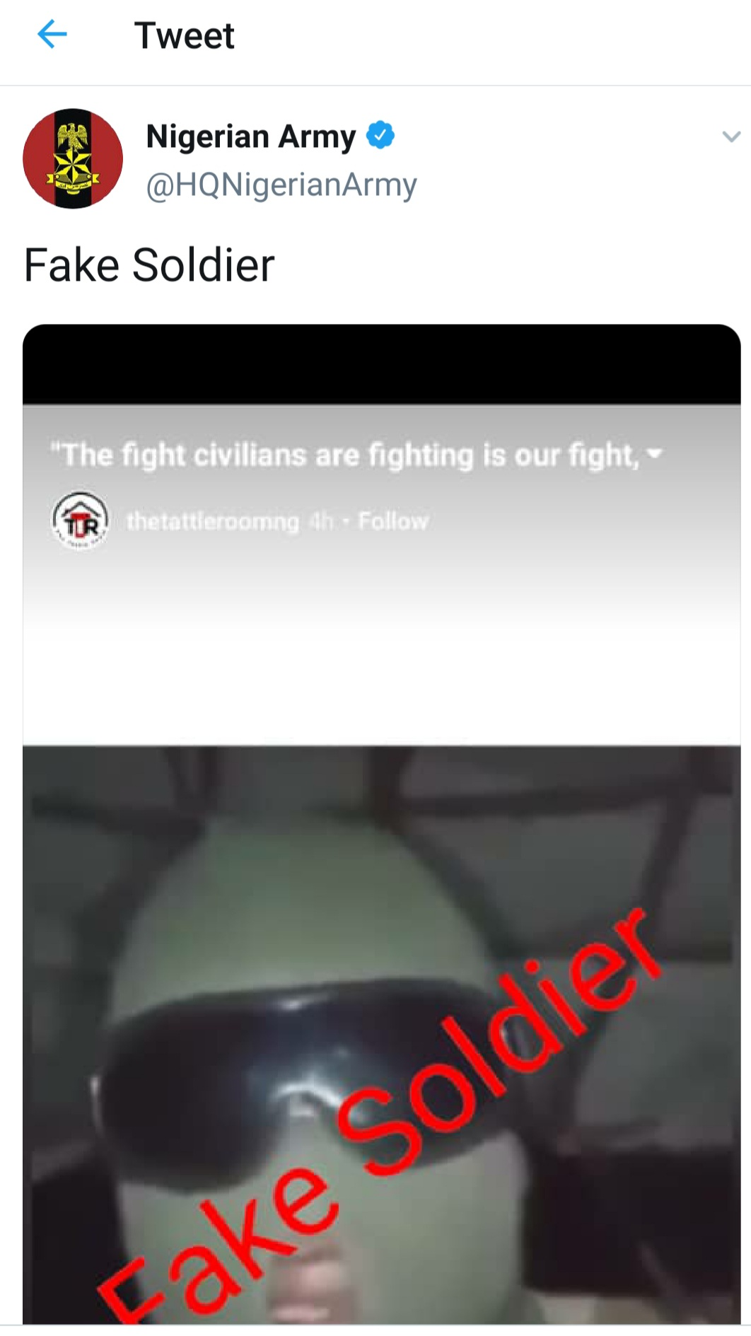 Screenshot shows the army initially saying video was fake