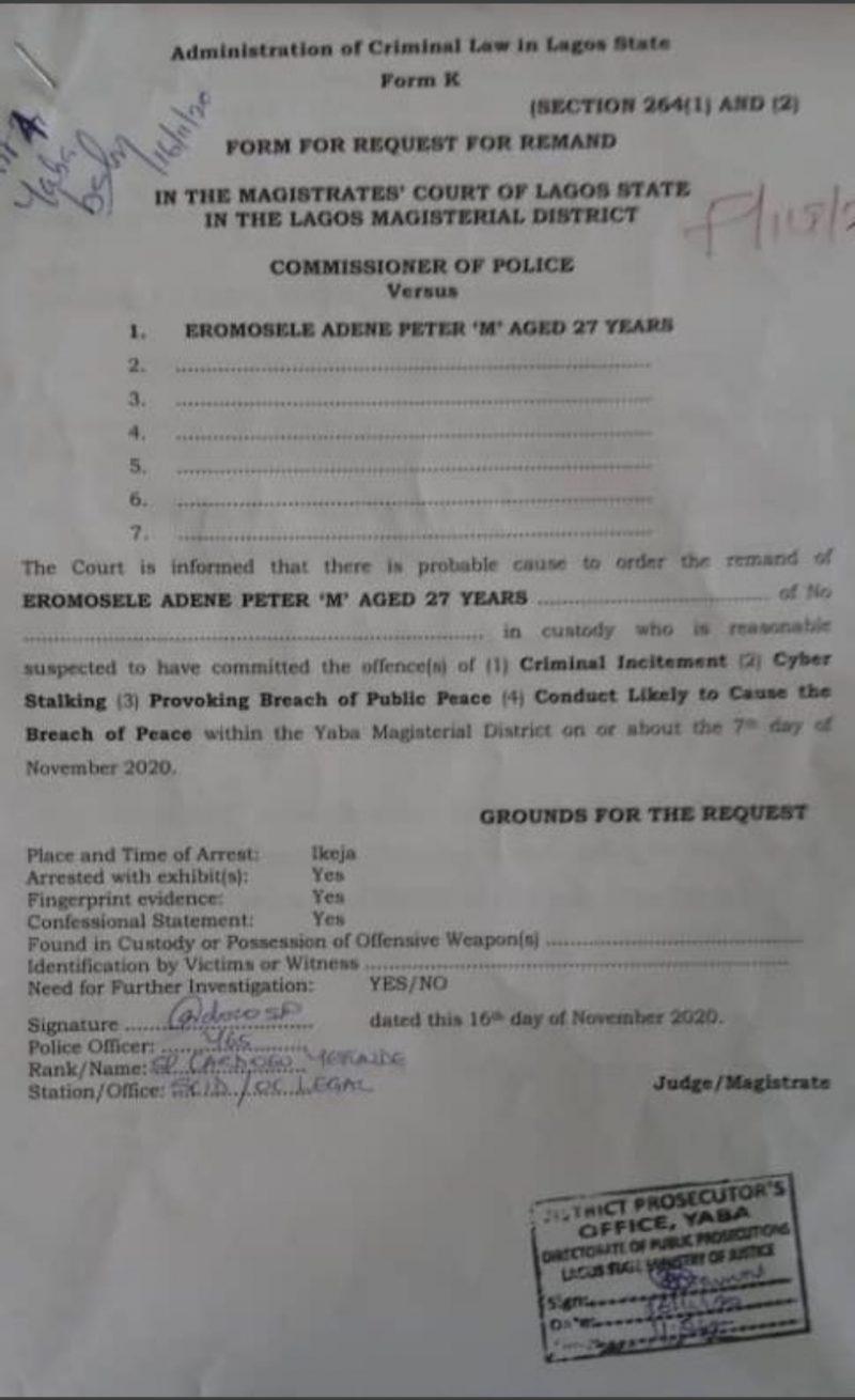 Eromosele Adene gets bail
