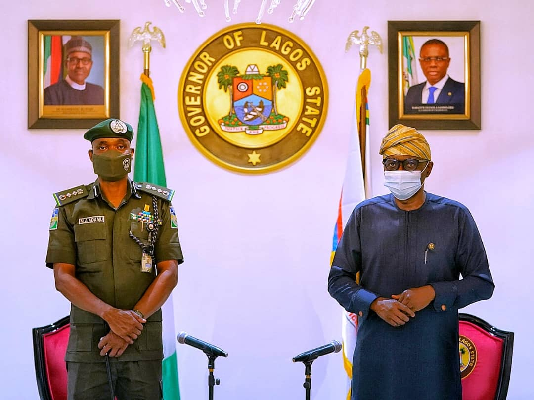 SANWO-OLU RECEIVES POLICE IG OVER COORDINATED ARSON IN LAGOS [PHOTO CREDIT: @followlasg]