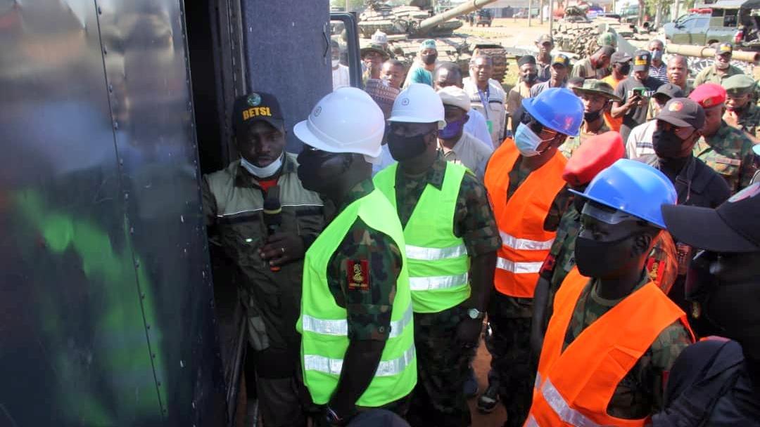 WAR ON TERROR, ANTI BANDITRY OPERATIONS: Gen Buratai Tours Command Engineering Depot Kaduna. [PHOTO CREDIT: Twitter handle of the Nigerian Army]