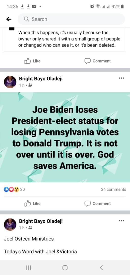Screenshot of post facebook made by Bayo Oladeji