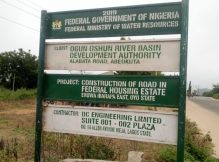 Project signboard at Federal Housing Estate, Eruwa, Oyo state.