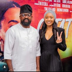 Temi Otedola and Kunle Afolayan at the screening