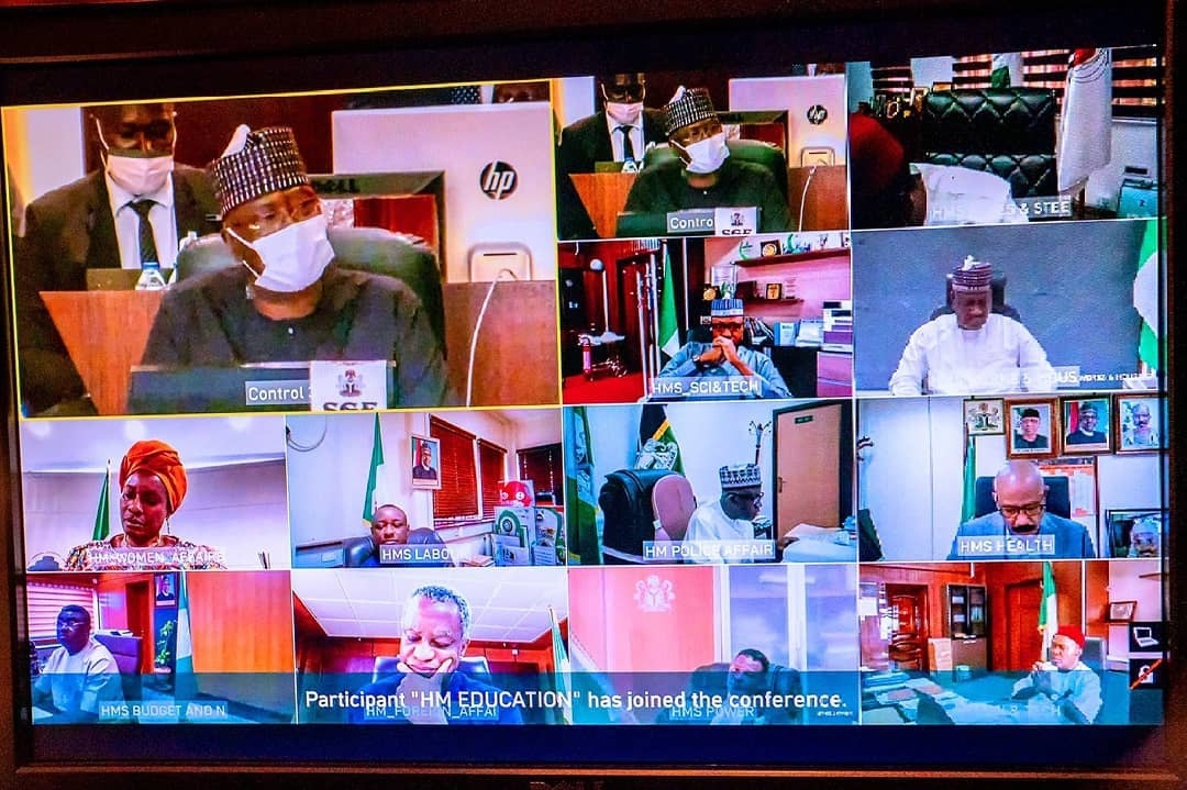 President Muhammadu Buhari presiding over the 23rd virtual meeting of the Federal Executive Council (FEC) at the Council Chamber of the Presidential Villa, Abuja. [PHOTO CREDIT: @theasovilla]