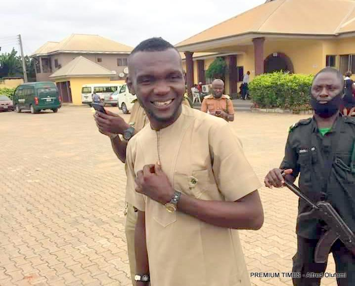 Ochei leaving the premises of the court on the day he was released