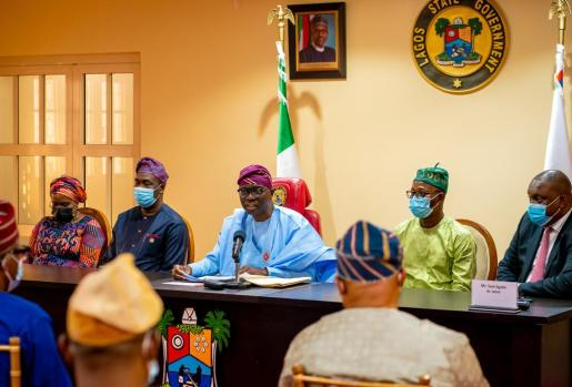 Secretary to Lagos State Government, Mrs. Folashade Jaji; Deputy Governor, Dr. Obafemi Hamzat; Governor Babajide Sanwo-Olu; Chairman, House Committee on Finance, Hon. Rotimi Olowo and Commissioner for Economic Planning and Budget, Mr. Sam Egube during the signing of Y2021 Appropriation Bill into Law at Lagos House, Marina, on Thursday, December 31, 2020.