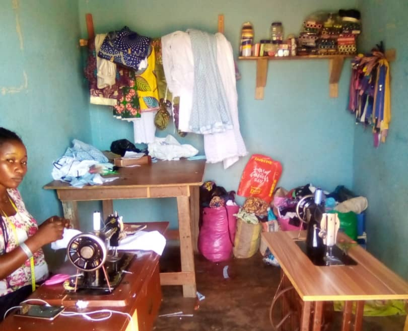 The tailoring shop of a returnee - who spoke to the PREMIUM TIMES - financed by IOM as part of her reintegration