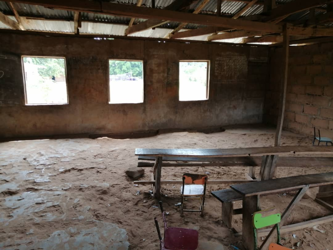 Pot holes inside Community Primary school Opi Agu, Nsukka East LGA, Enugu state