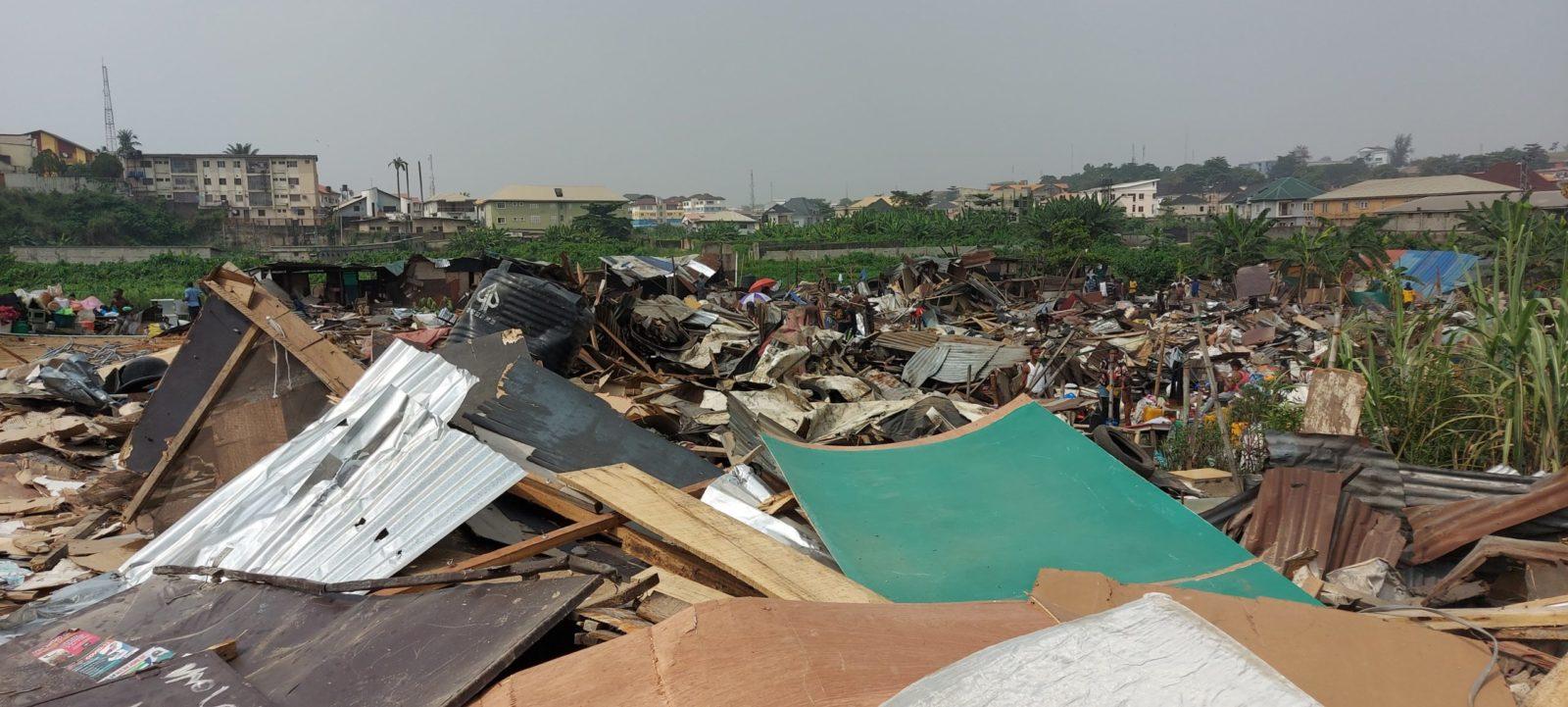 Ruins of Monkey Village, Opebi after demolition.