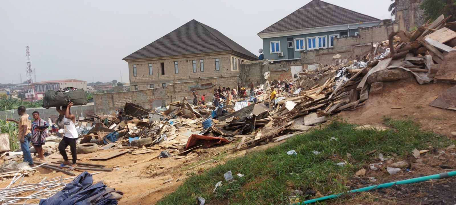 Ruins of Monkey Village, Opebi after demolition