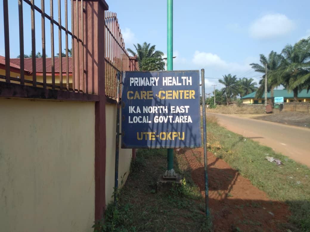 sign post of Ute-Okpu primary health center, Ikah North East LGA, Delta state