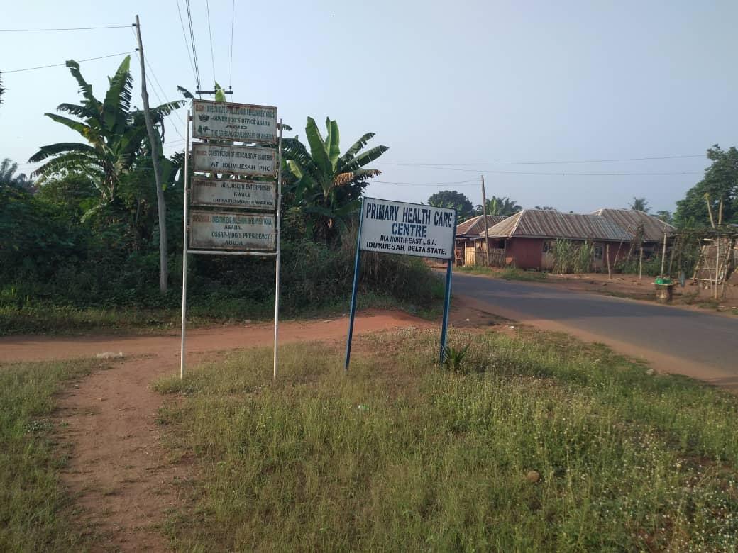 signpost at Primary Health Center at Idumesah village, Ikah North East LGA, Delta state
