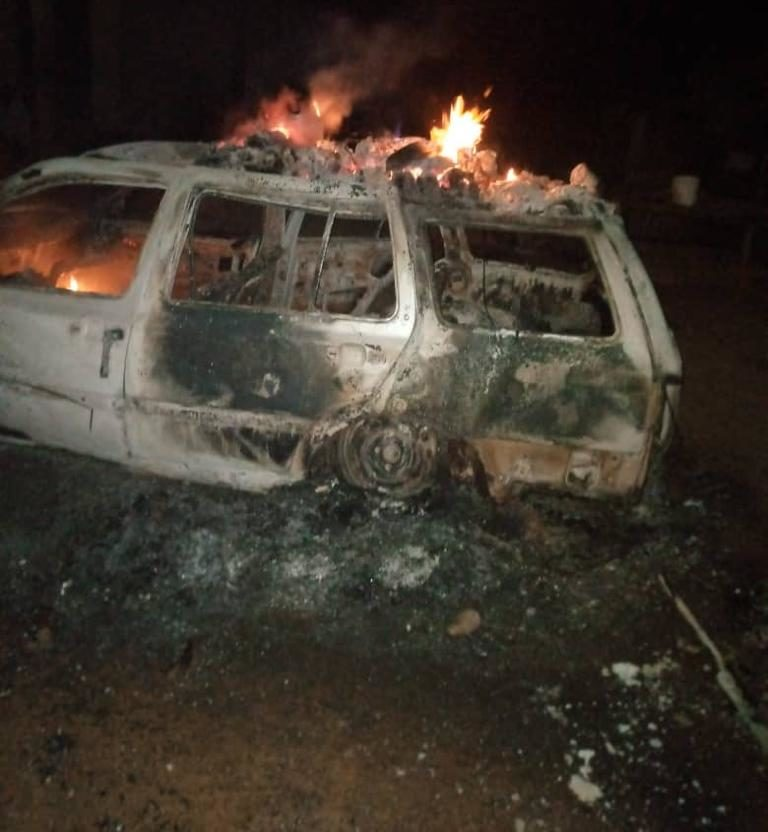 Vehicle set ablaze by the bandits in Kaya village during the attack