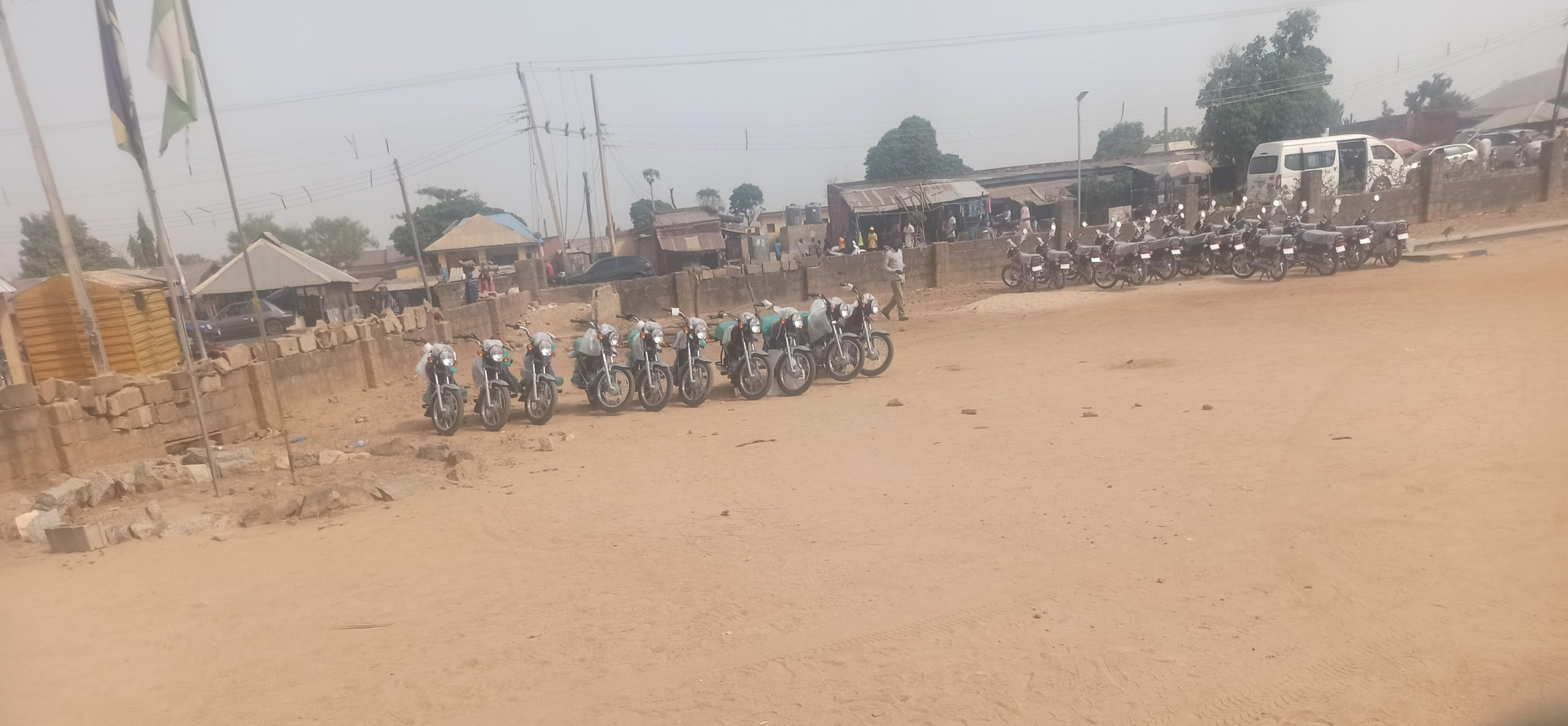 motorcycles parked outside Kagara police station