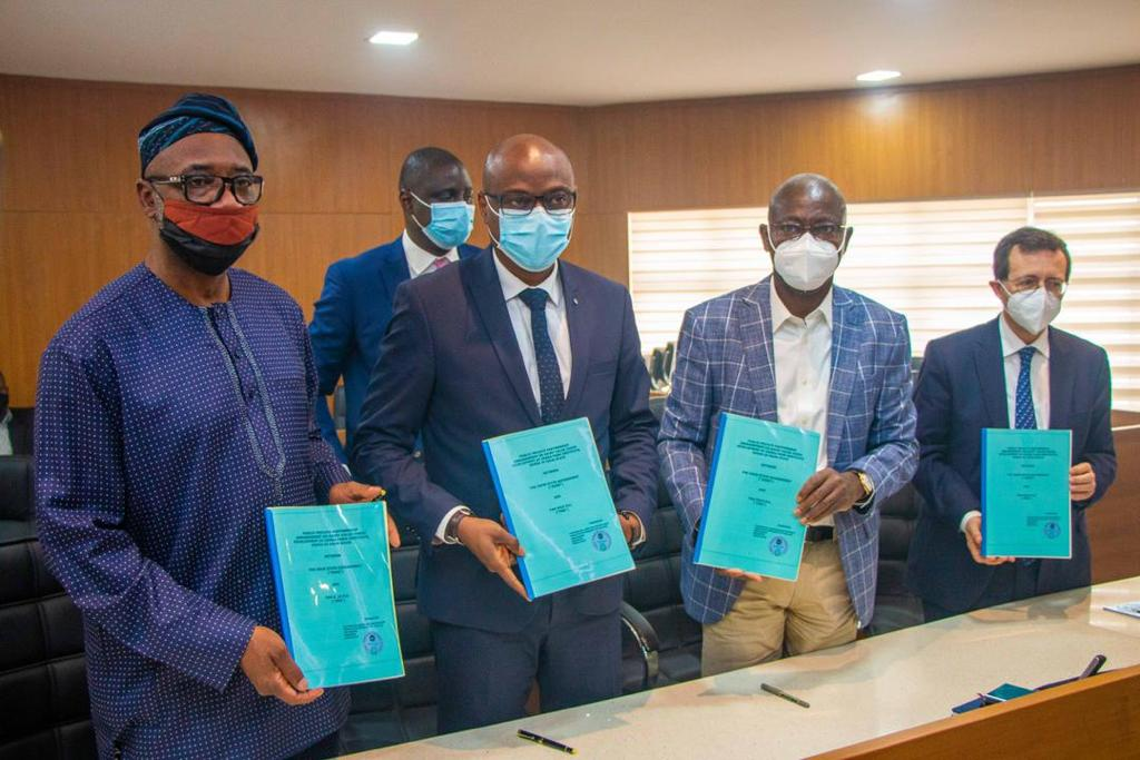 (Left)  Mr Olayinka Akinkugbe, Chairman, Fan Milk Plc;  Mr Ferdinand Mouko, Managing Director, Fan Milk Plc; Mr Tokunbo Talabi, Secretary to Ogun State Government; and H.E. Mr Jerome Pasquier, French Ambassador to Nigeria, after signing the partnership agreement between Fan Milk, a Danone Company and Ogun State to establish the flagship Fan Milk-Danone dairy farm at Odeda Farm Institute.