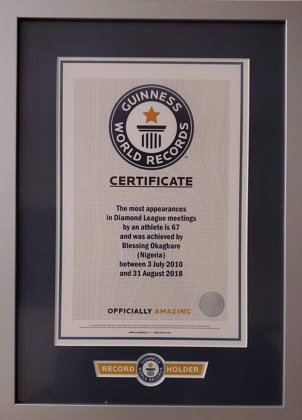 Okagbare's Guinness World Record Certificate