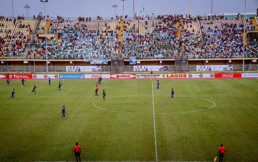 Super Eagles against the Crocodiles of Lesotho at Teslim Balogun Stadium, Lagos.