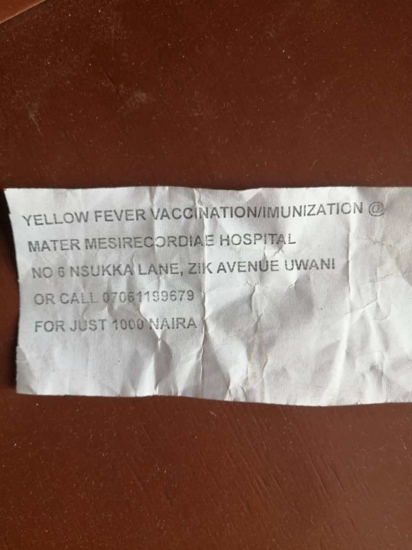 Piece of paper given to Mr Ezeani directing him to a private vaccine dealer that sells at N1000 per jab