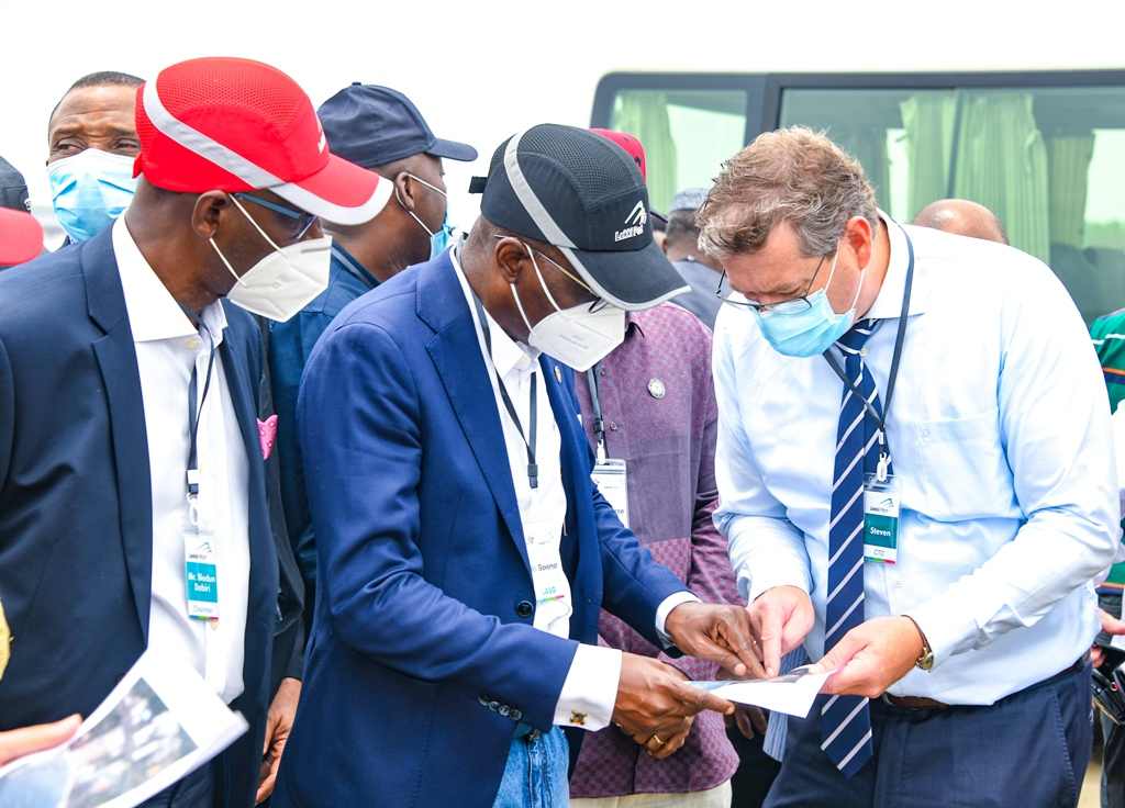 L-R: Chairman, Lekki Free Zone Development Company, Mr. Abiodun Dabiri, Lagos State Governor Mr. Babajide Sanwo-Olu and Chief Technical Officer, Lekki Port, Mr. Steven Heukelom during the Governor's working visit to the Lekki Free Trade Zone, Ibeju-Lekki, on Friday, March 19, 2021.