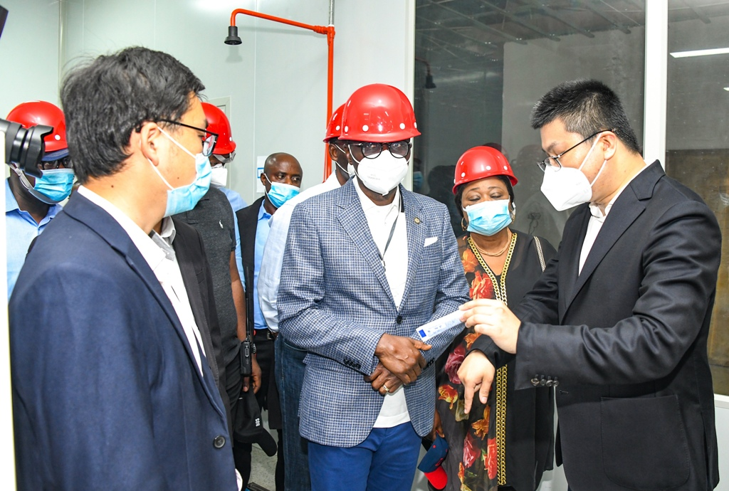 L-R: Managing Director, Colori Cosmetics FZE, Mr. Daivd Feng; Lagos State Governor, Mr. Babajide Sanwo-Olu; Commissioner for Commerce, Industry & Cooperatives, Dr. (Mrs) Lola Akande and Vice President of Longrich Group & C.E.O, Longrich International Market, Mr. Alex Jia, during the Governor's working visit to Longrich and Colori Lekki Manufacture at the Lekki Free Trade Zone, Ibeju-Lekki, on Saturday, March 20, 2021.
