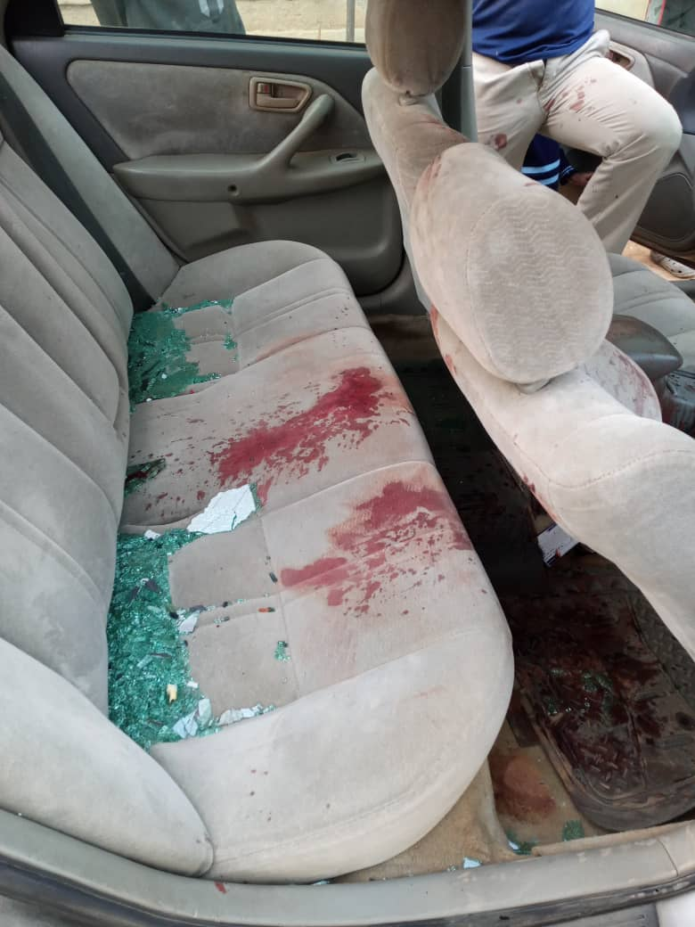 Mr Shittu's blood spilled all over the his car