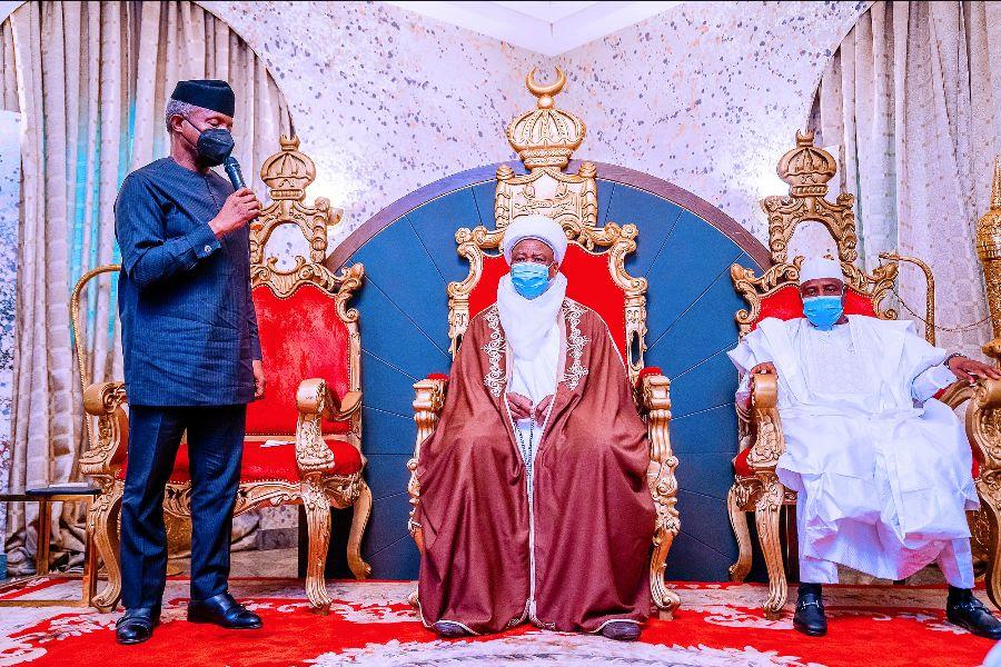 Vice President Yemi Osinbajo SAN speaking during the visit to the palace of the Sultan of Sokoto His Eminence Muhammadu Sa'adu Abubakar III. 12th March, 2021. Photos; Tolani Alli