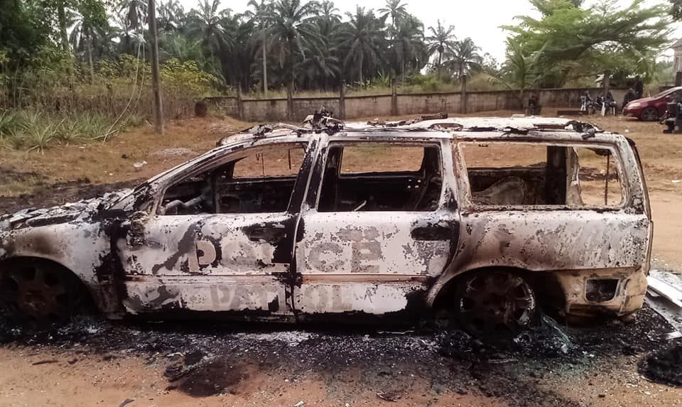 Burnt police patrol vehicle in Essien Udim