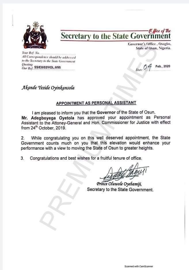 Leaked letter