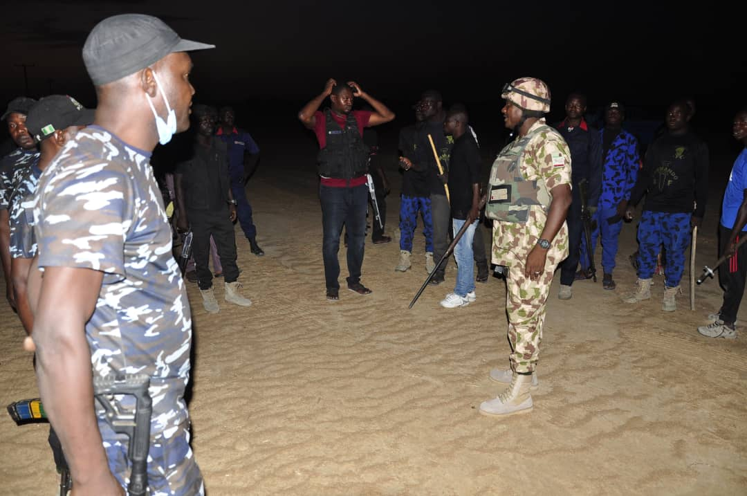 Combined team of the Army, Police and local vigilante groups after inflicting heavy casualty on terrorists [Photo Credit Nigerian Army]
