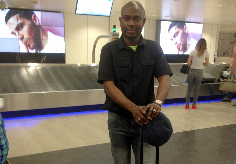 Mr Osharode at the airport