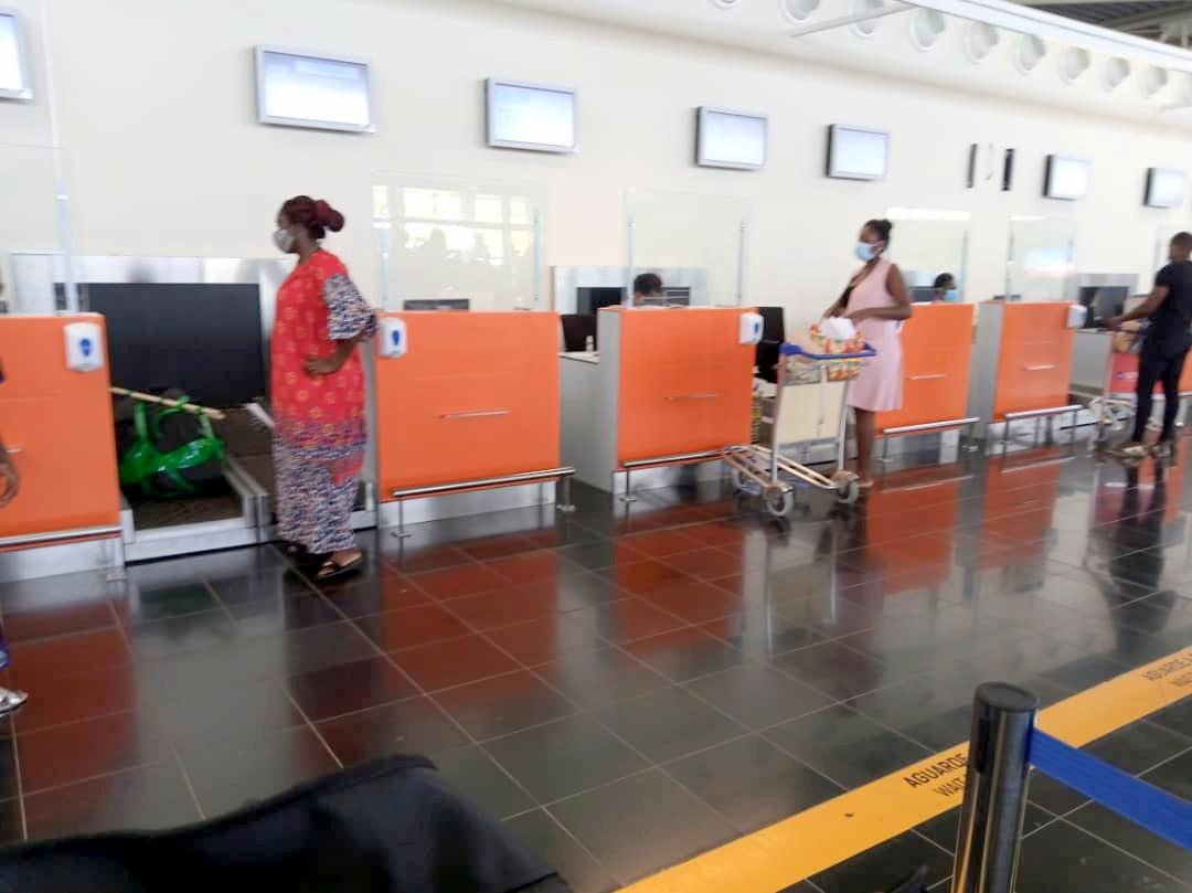 A walkway at Nelson Mandela International Airport Praia, Cape Verde