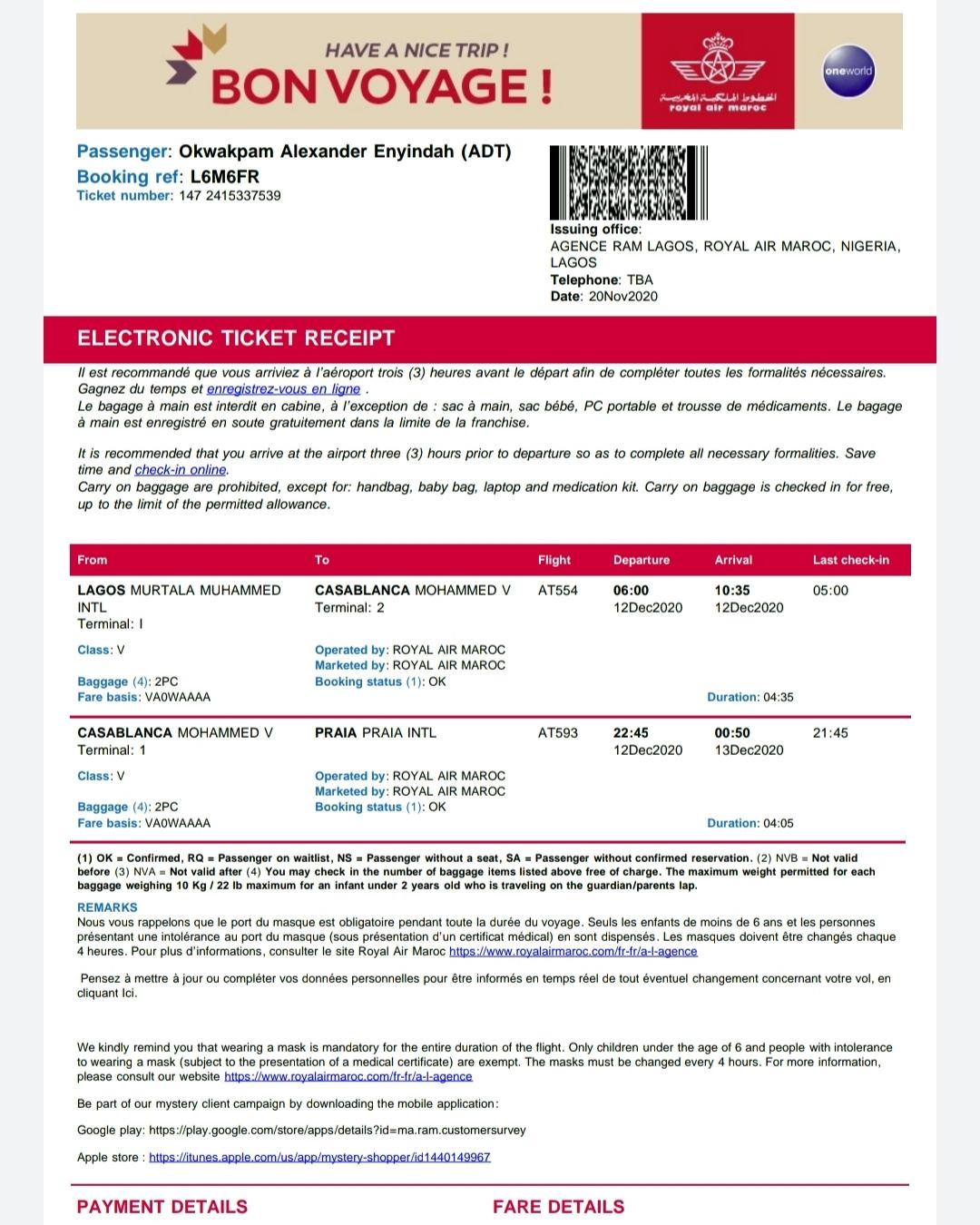 Flight ticket on board Royal Air Maroc