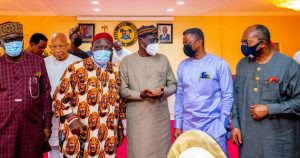 The leaders of Ohaneze Ndigbo paid Governor Sanwo-Olu a courtesy visit at Lagos House, Marina.