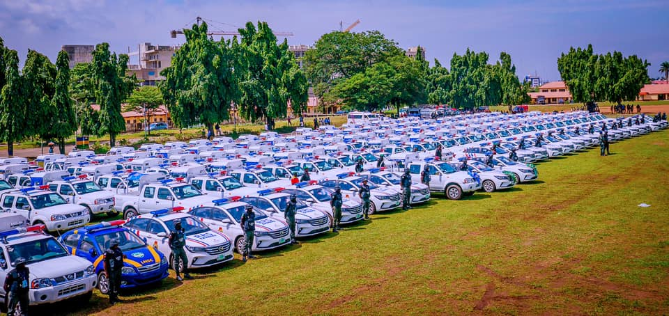 Some of the security vehicles and motorcycles donated by Lagos govt. to aid crime-fighting in the state