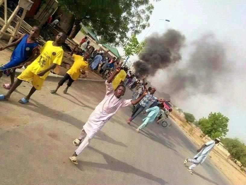 PDP supporters protest alleged manipulation of Jigawa local govt elections.