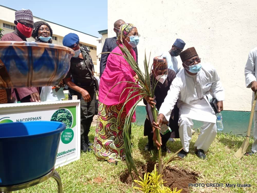 The Minister of State trade and investment Marian Katagum, planting.