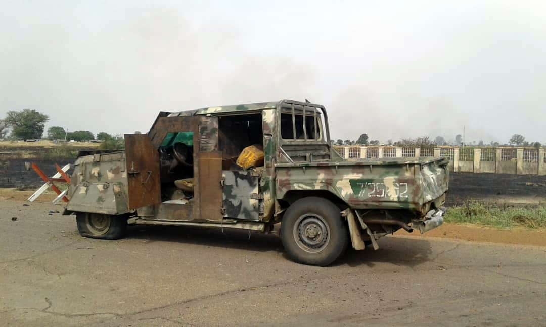 Destroyed truck during the ISWAP Nigerian army battle.
