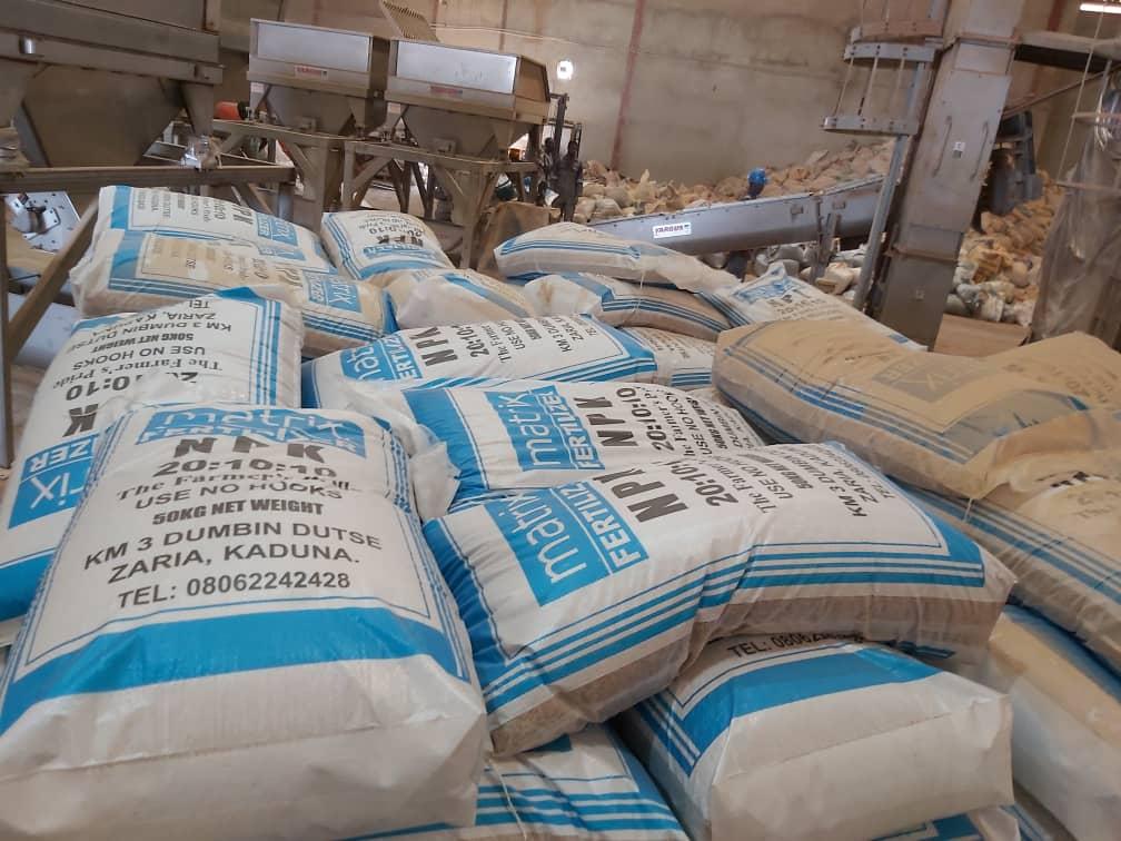 A stockpile of Matrix NPK fertiliser