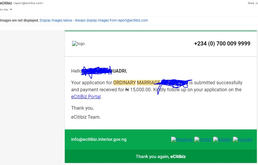 Aderemi paid N27,000 as registration fees but got email confirmation for payment of N15,000