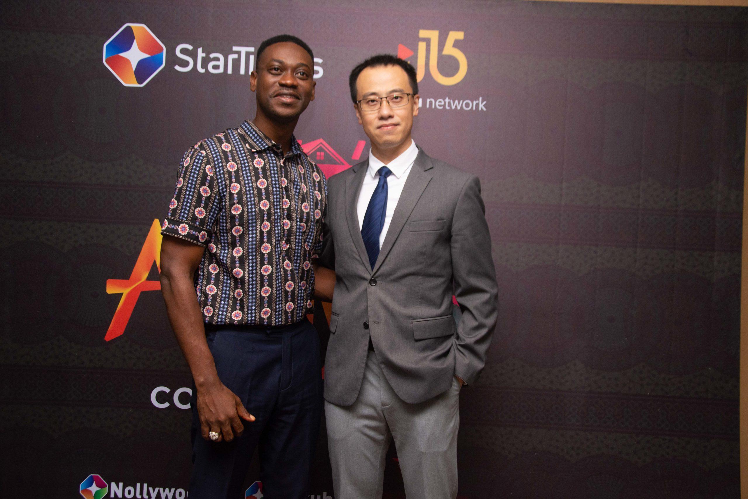 Yoruba movie star, Lateef Adedimeji and CEO, StarTimes Nigeria, Alex Jian during a press conference to announce Ile Alayo drama series