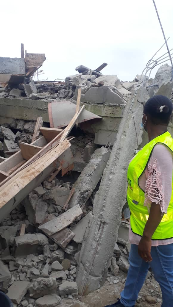 The collapsed building