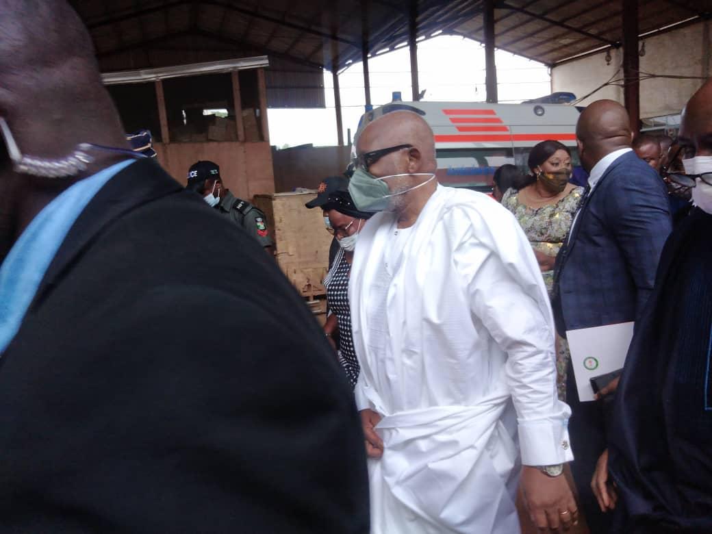 Rotimi Akeredolu, Ondo governor arrives T.B Joshua's burial ceremony.