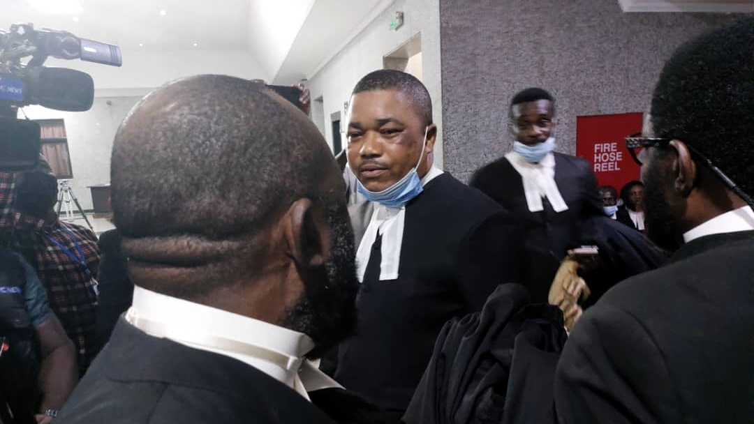 A team of lawyers to Nnamdi Kanu, IPOB leader, in a shouting-match with SSS operatives as they try unsuccessfully to access the courtroom on Monday.
