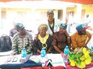 Chieftains of Action Alliance (AA) at the campaign flag-off on Saturday ahead of the July 24 council poll in Lagos.